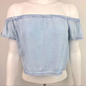 Kendal & Kylie Off The Shoulder Chambray Top